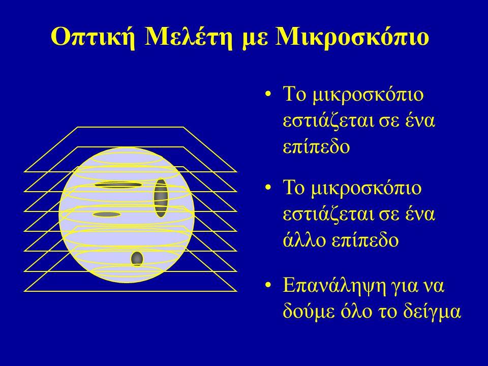 Οπτική Μελέτη με Μικροσκόπιο Το μικροσκόπιο εστιάζεται σε ένα άλλο επίπεδο Επανάληψη για να δούμε όλο το δείγμα Το μικροσκόπιο εστιάζεται σε ένα επίπεδο