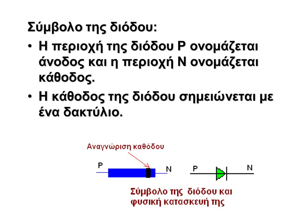Σύμβολο της διόδου: Η περιοχή της διόδου Ρ ονομάζεται άνοδος και η περιοχή Ν ονομάζεται κάθοδος.Η περιοχή της διόδου Ρ ονομάζεται άνοδος και η περιοχή