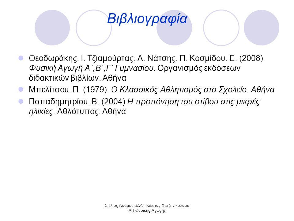 Στέλιος Αδάμου ΒΔΑ΄- Κώστας Χατζηνικολάου ΑΠ Φυσικής Αγωγής Βιβλιογραφία Θεοδωράκης.