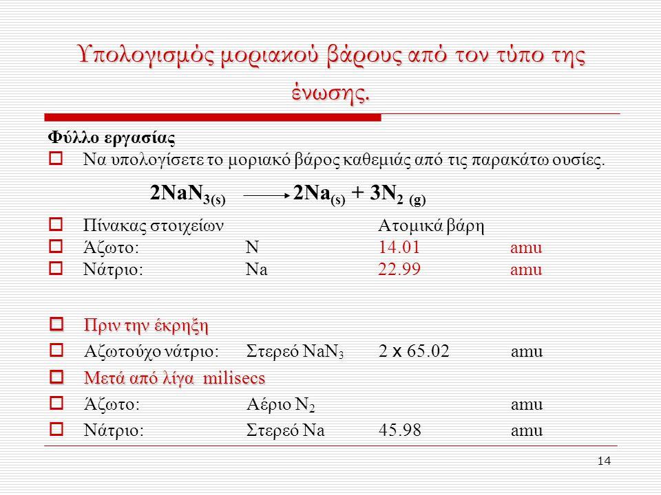 14 Υπολογισμός μοριακού βάρους από τον τύπο της ένωσης.