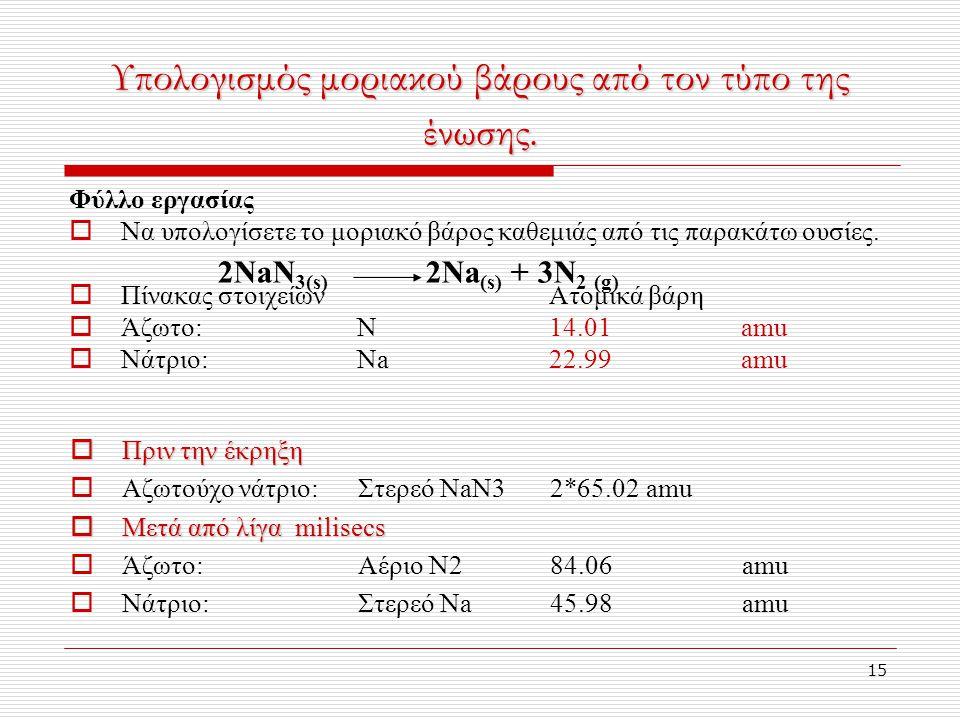 15 Υπολογισμός μοριακού βάρους από τον τύπο της ένωσης.