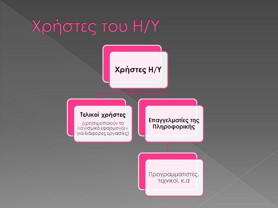 Χρήστες Η/Υ Τελικοί χρήστες (χρησιμοποιούν το λογισμικό εφαρμογών για διάφορες εργασίες) Επαγγελματίες της Πληροφορικής Προγραμματιστές, τεχνικοί, κ.α