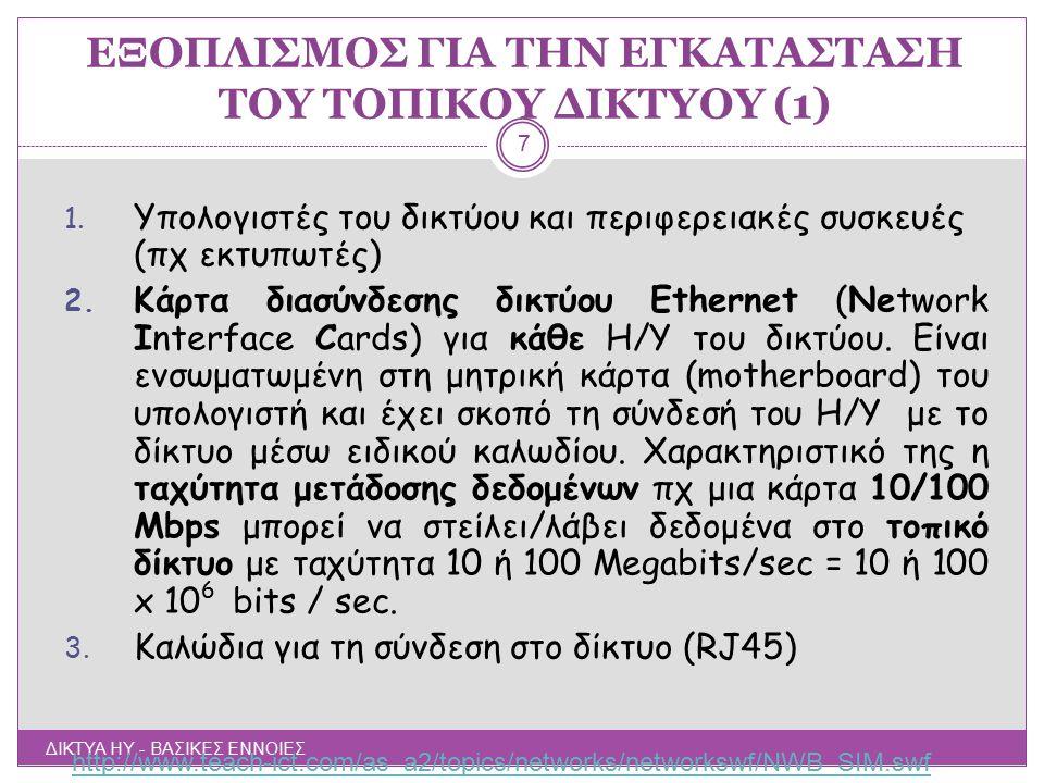 ΕΞΟΠΛΙΣΜΟΣ ΓΙΑ ΤΗΝ ΕΓΚΑΤΑΣΤΑΣΗ ΤΟΥ ΔΙΚΤΥΟΥ (2) ΔΙΚΤΥΑ ΗΥ - ΒΑΣΙΚΕΣ ΕΝΝΟΙΕΣ 8 4.