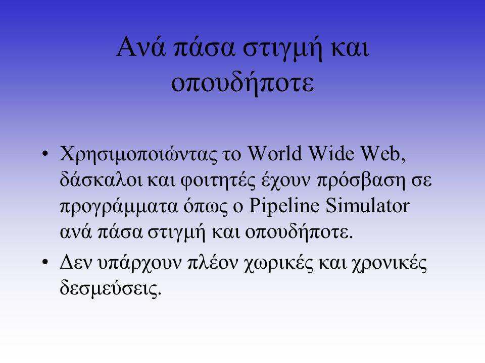Ανά πάσα στιγμή και οπουδήποτε Χρησιμοποιώντας το World Wide Web, δάσκαλοι και φοιτητές έχουν πρόσβαση σε προγράμματα όπως ο Pipeline Simulator ανά πά