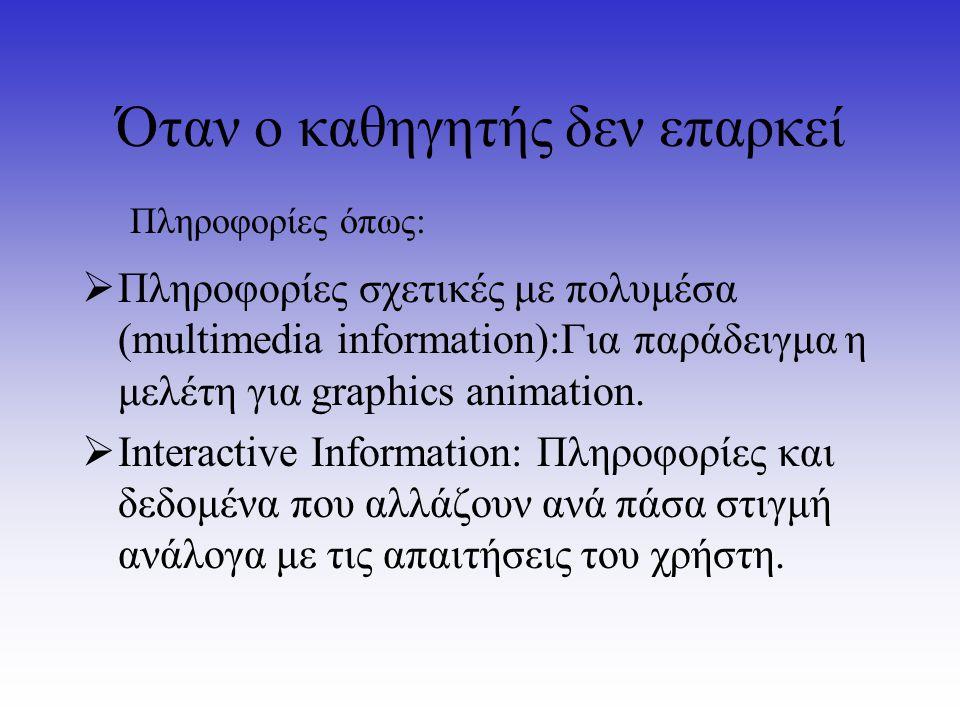 Όταν ο καθηγητής δεν επαρκεί  Πληροφορίες σχετικές με πολυμέσα (multimedia information):Για παράδειγμα η μελέτη για graphics animation.  Interactive