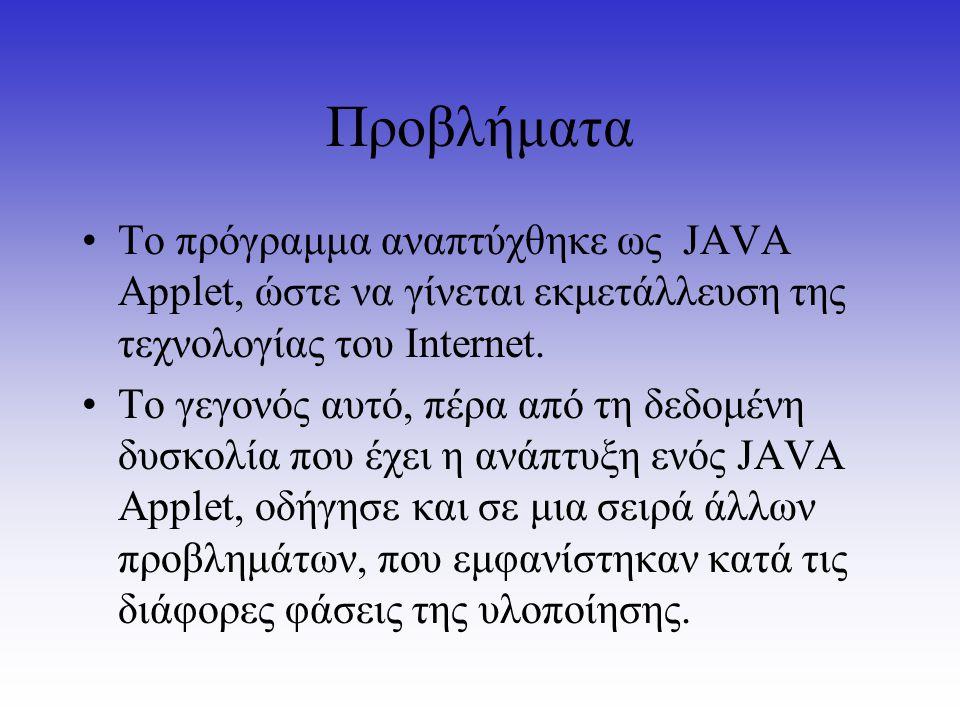Προβλήματα Το πρόγραμμα αναπτύχθηκε ως JAVA Αpplet, ώστε να γίνεται εκμετάλλευση της τεχνολογίας του Internet. To γεγονός αυτό, πέρα από τη δεδομένη δ