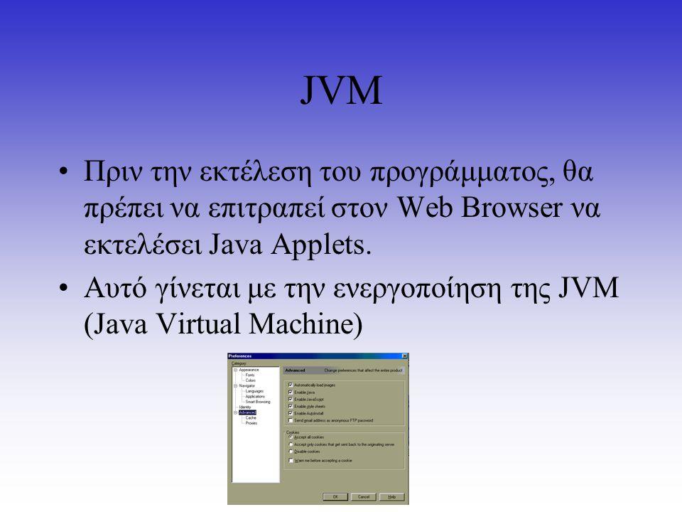 JVM Πριν την εκτέλεση του προγράμματος, θα πρέπει να επιτραπεί στον Web Browser να εκτελέσει Java Applets. Αυτό γίνεται με την ενεργοποίηση της JVM (J