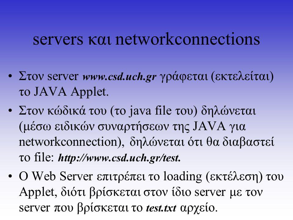 servers και networkconnections Στον server www.csd.uch.gr γράφεται (εκτελείται) το JAVA Applet. Στον κώδικά του (το java file του) δηλώνεται (μέσω ειδ
