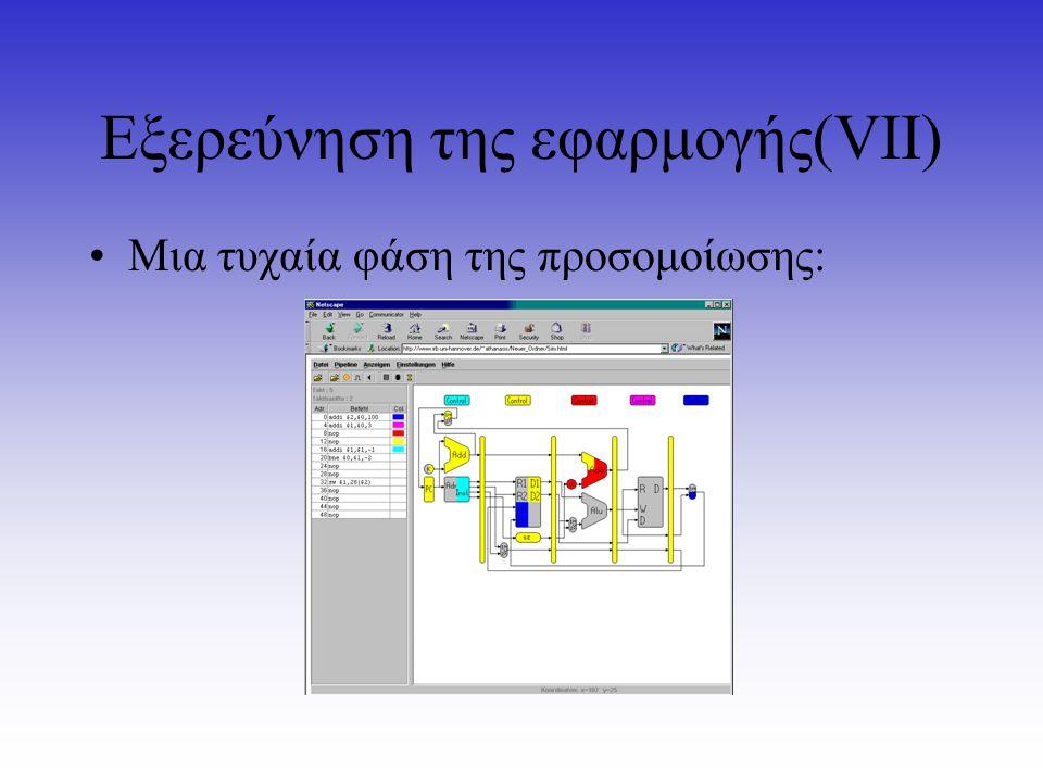 Εξερεύνηση της εφαρμογής(VΙI) Mια τυχαία φάση της προσομοίωσης: