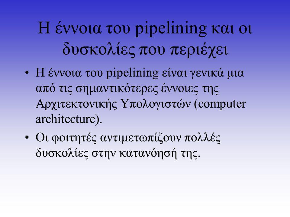 Η έννοια του pipelining και οι δυσκολίες που περιέχει Η έννοια του pipelining είναι γενικά μια από τις σημαντικότερες έννοιες της Αρχιτεκτονικής Υπολο