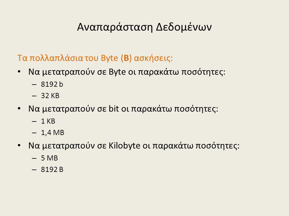 Αναπαράσταση Δεδομένων Τα πολλαπλάσια του Byte (B) ασκήσεις: Να μετατραπούν σε Byte οι παρακάτω ποσότητες: – 8192 b – 32 KB Να μετατραπούν σε bit οι παρακάτω ποσότητες: – 1 KB – 1,4 MB Να μετατραπούν σε Kilobyte οι παρακάτω ποσότητες: – 5 MB – 8192 B