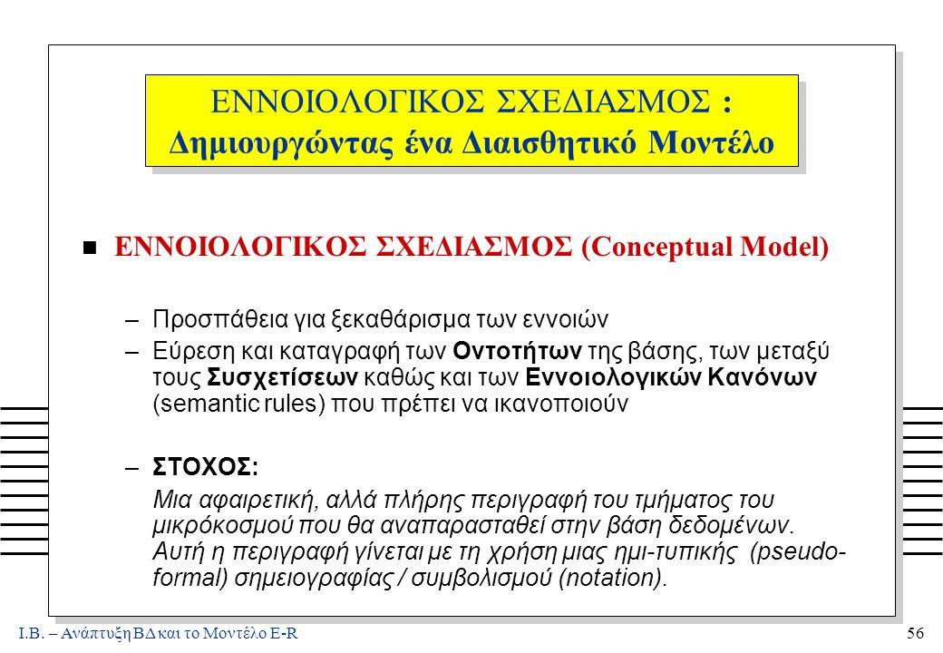 Ι.Β. – Ανάπτυξη ΒΔ και το Μοντέλο E-R56 ΕΝΝΟΙΟΛΟΓΙΚΟΣ ΣΧΕΔΙΑΣΜΟΣ : Δημιουργώντας ένα Διαισθητικό Μοντέλο n ΕΝΝΟΙΟΛΟΓΙΚΟΣ ΣΧΕΔΙΑΣΜΟΣ (Conceptual Model)