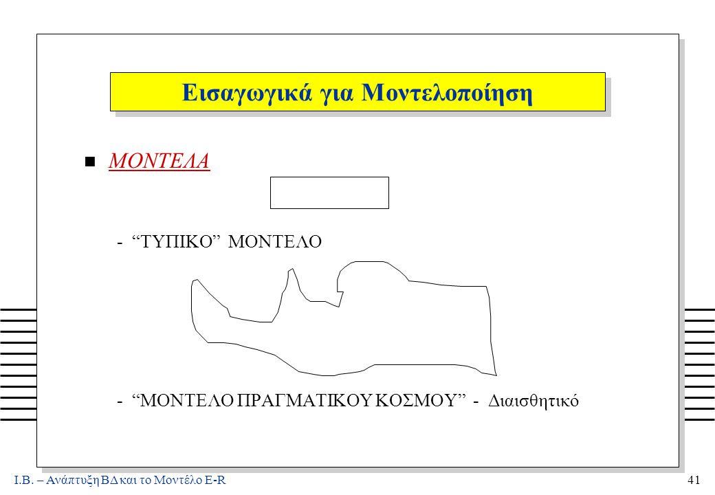 """Ι.Β. – Ανάπτυξη ΒΔ και το Μοντέλο E-R41 Εισαγωγικά για Μοντελοποίηση n ΜΟΝΤΕΛΑ - """"ΤΥΠΙΚΟ"""" ΜΟΝΤΕΛΟ - """"ΜΟΝΤΕΛΟ ΠΡΑΓΜΑΤΙΚΟΥ ΚΟΣΜΟΥ"""" - Διαισθητικό"""