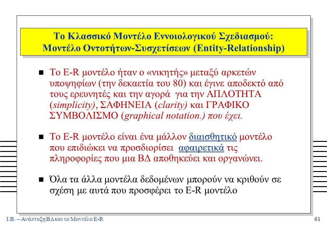 Ι.Β. – Ανάπτυξη ΒΔ και το Μοντέλο E-R61 Το Κλασσικό Μοντέλο Εννοιολογικού Σχεδιασμού: Μοντέλο Οντοτήτων-Συσχετίσεων (Entity-Relationship) n Το E-R μον