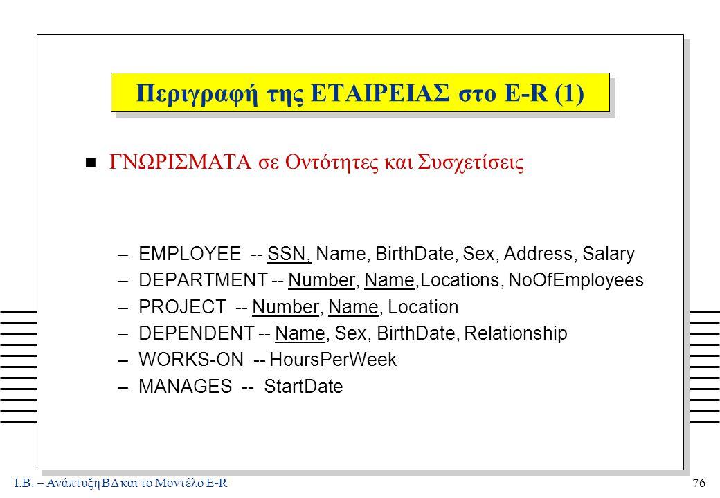 Ι.Β. – Ανάπτυξη ΒΔ και το Μοντέλο E-R76 Περιγραφή της ΕΤΑΙΡΕΙΑΣ στο E-R (1) n ΓΝΩΡΙΣΜΑΤΑ σε Οντότητες και Συσχετίσεις –EMPLOYEE -- SSN, Name, BirthDat
