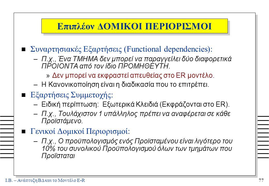 Ι.Β. – Ανάπτυξη ΒΔ και το Μοντέλο E-R77 Επιπλέον ΔΟΜΙΚΟΙ ΠΕΡΙΟΡΙΣΜΟΙ n Συναρτησιακές Εξαρτήσεις (Functional dependencies): –Π.χ., Ένα ΤΜΗΜΑ δεν μπορεί