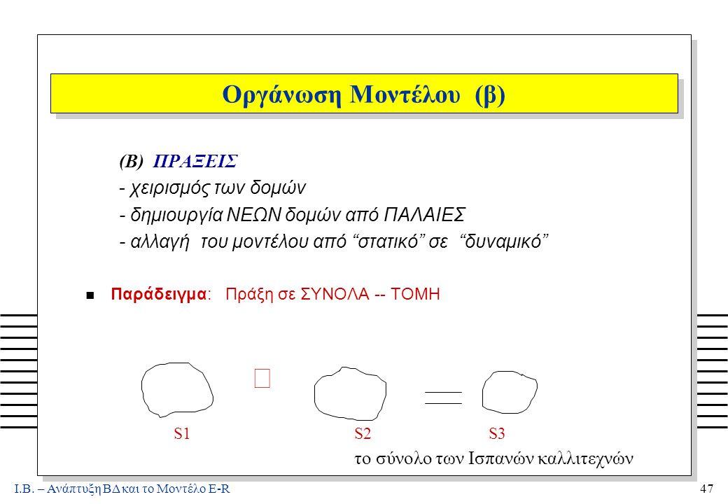 Ι.Β. – Ανάπτυξη ΒΔ και το Μοντέλο E-R47 Οργάνωση Μοντέλου (β) (B) ΠΡΑΞΕΙΣ - χειρισμός των δομών - δημιουργία ΝΕΩΝ δομών από ΠΑΛΑΙΕΣ - αλλαγή του μοντέ