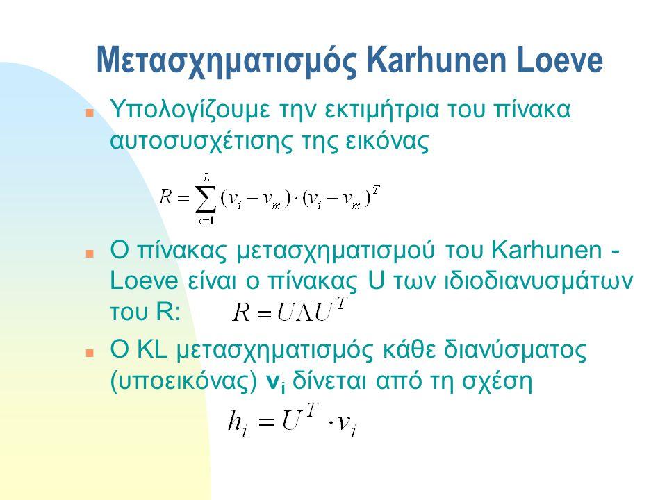 Μετασχηματισμός Karhunen Loeve n Υπολογίζουμε την εκτιμήτρια του πίνακα αυτοσυσχέτισης της εικόνας n Ο πίνακας μετασχηματισμού του Karhunen - Loeve εί