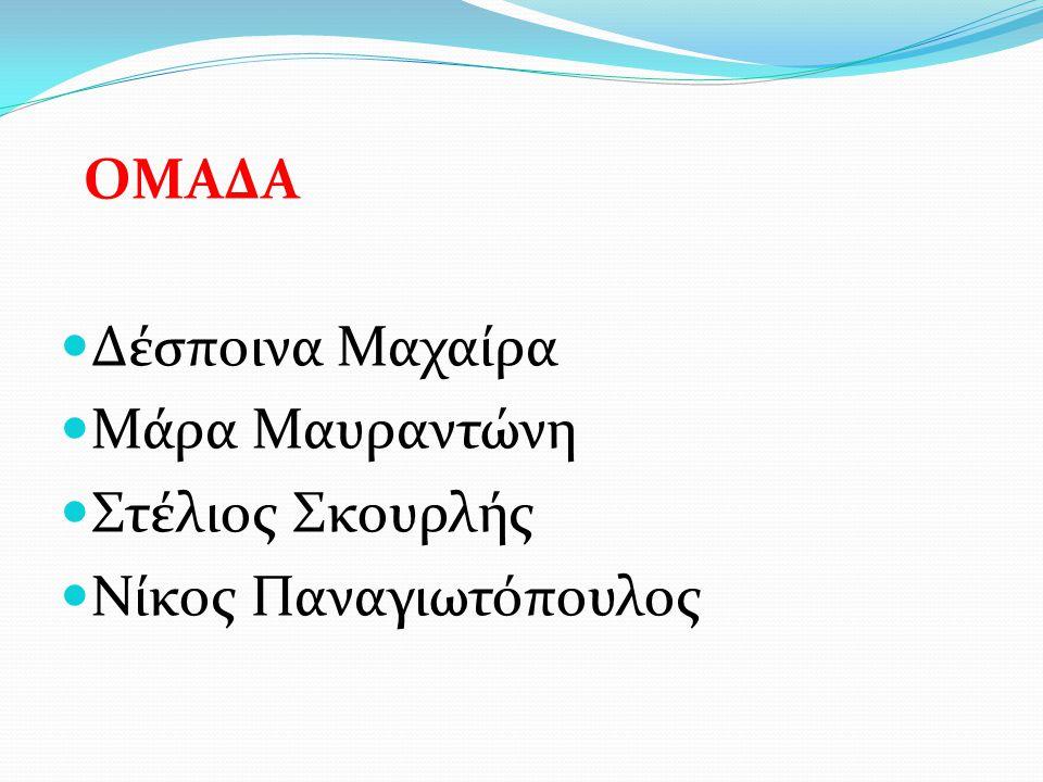 ΟΜΑΔΑ Δέσποινα Μαχαίρα Μάρα Μαυραντώνη Στέλιος Σκουρλής Νίκος Παναγιωτόπουλος