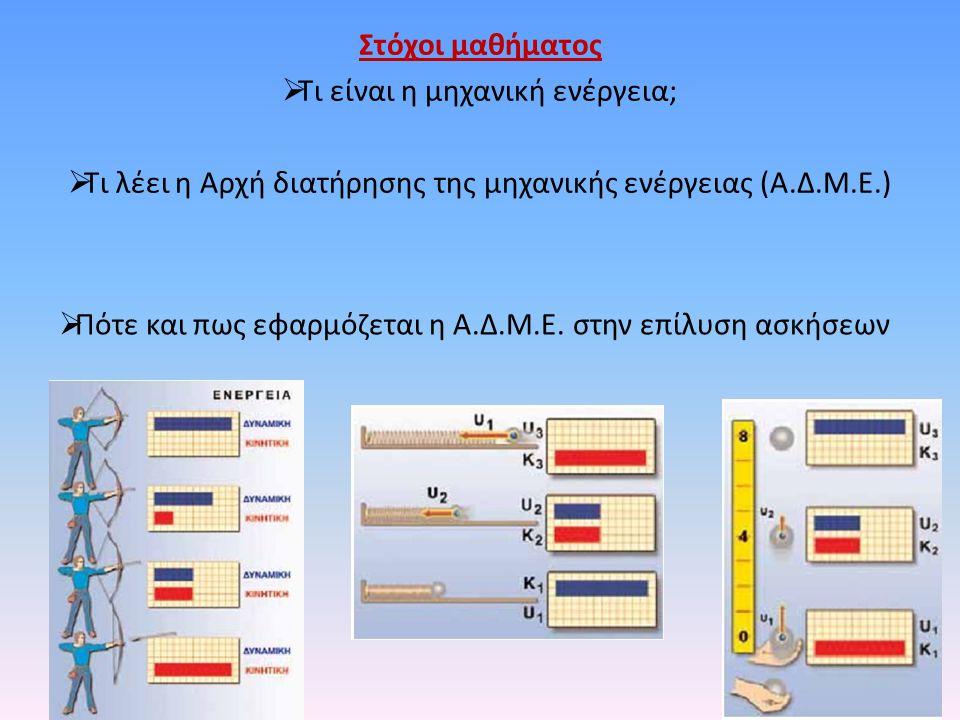 Στόχοι μαθήματος  Τι είναι η μηχανική ενέργεια;  Τι λέει η Αρχή διατήρησης της μηχανικής ενέργειας (Α.Δ.Μ.Ε.)  Πότε και πως εφαρμόζεται η Α.Δ.Μ.Ε.