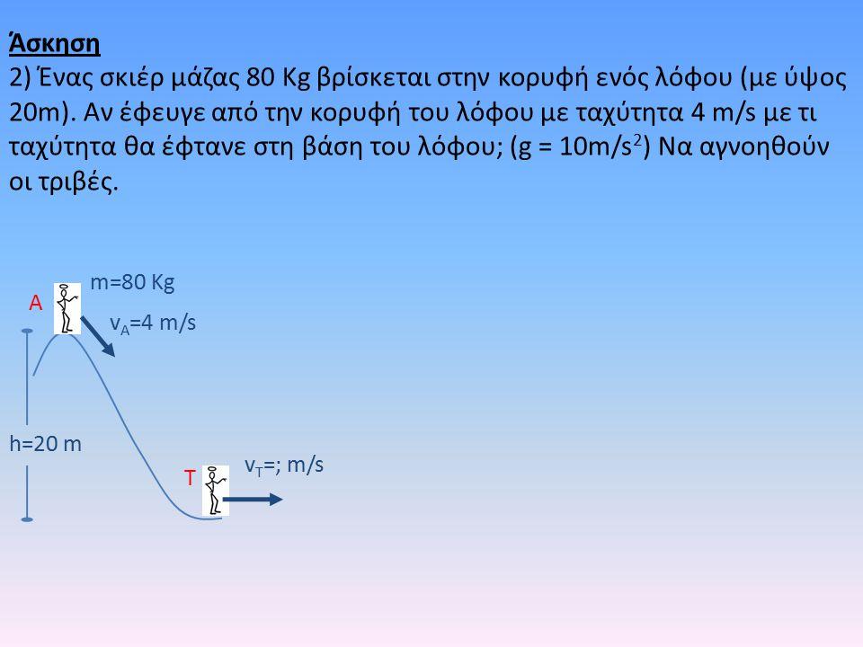 h=20 m m=80 Kg v A =4 m/s v T =; m/s A T Άσκηση 2) Ένας σκιέρ μάζας 80 Kg βρίσκεται στην κορυφή ενός λόφου (με ύψος 20m).