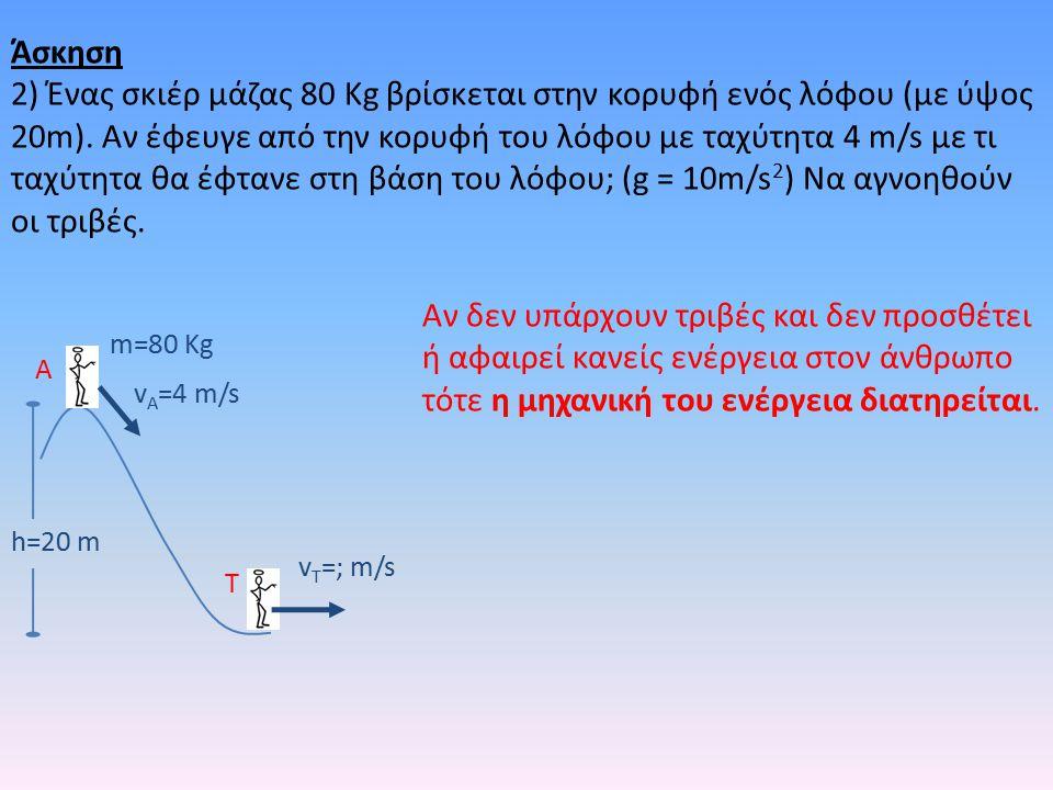 h=20 m m=80 Kg v A =4 m/s v T =; m/s A T Αν δεν υπάρχουν τριβές και δεν προσθέτει ή αφαιρεί κανείς ενέργεια στον άνθρωπο τότε η μηχανική του ενέργεια διατηρείται.