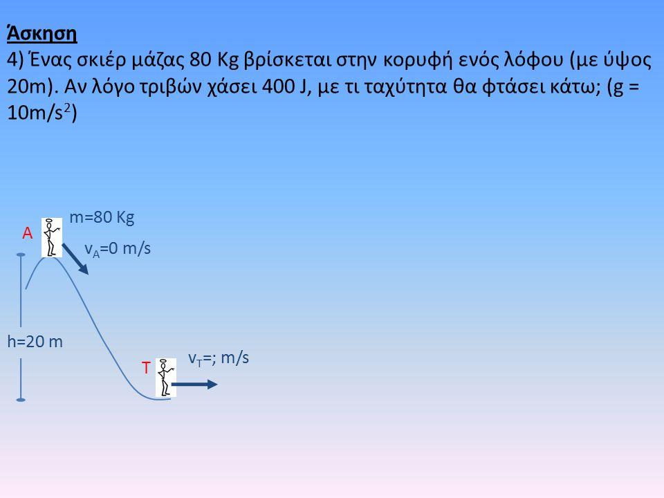 h=20 m m=80 Kg v A =0 m/s v T =; m/s A T Άσκηση 4) Ένας σκιέρ μάζας 80 Kg βρίσκεται στην κορυφή ενός λόφου (με ύψος 20m).