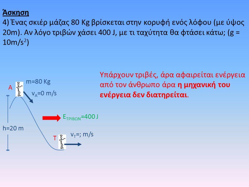 h=20 m m=80 Kg v A =0 m/s v T =; m/s A T E ΤΡΙΒΩΝ =400 J Υπάρχουν τριβές, άρα αφαιρείται ενέργεια από τον άνθρωπο άρα η μηχανική του ενέργεια δεν διατηρείται.