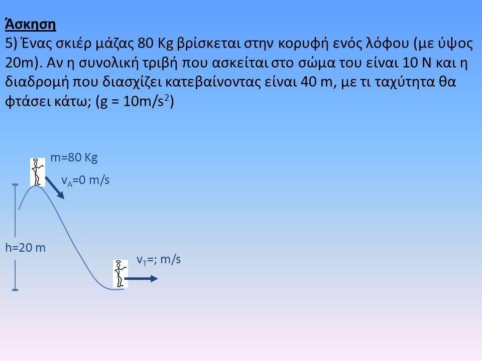 h=20 m m=80 Kg v A =0 m/s v T =; m/s Άσκηση 5) Ένας σκιέρ μάζας 80 Kg βρίσκεται στην κορυφή ενός λόφου (με ύψος 20m).