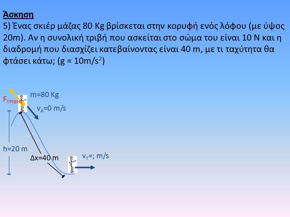 h=20 m m=80 Kg v A =0 m/s v T =; m/s F TΡΙΒΗΣ Δx=40 m Άσκηση 5) Ένας σκιέρ μάζας 80 Kg βρίσκεται στην κορυφή ενός λόφου (με ύψος 20m).