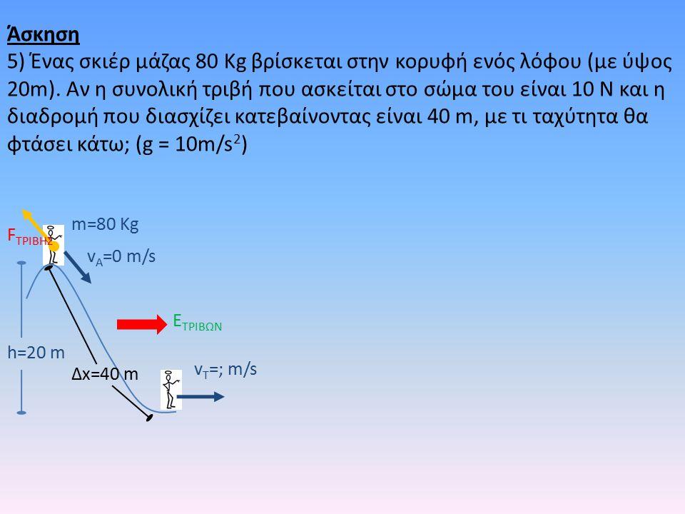 h=20 m m=80 Kg v A =0 m/s v T =; m/s E ΤΡΙΒΩΝ F TΡΙΒΗΣ Δx=40 m Άσκηση 5) Ένας σκιέρ μάζας 80 Kg βρίσκεται στην κορυφή ενός λόφου (με ύψος 20m).