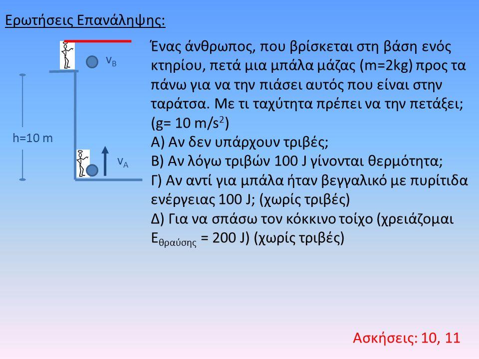 Ερωτήσεις Επανάληψης: Ασκήσεις: 10, 11 h=10 m vAvA vBvB Ένας άνθρωπος, που βρίσκεται στη βάση ενός κτηρίου, πετά μια μπάλα μάζας (m=2kg) προς τα πάνω για να την πιάσει αυτός που είναι στην ταράτσα.