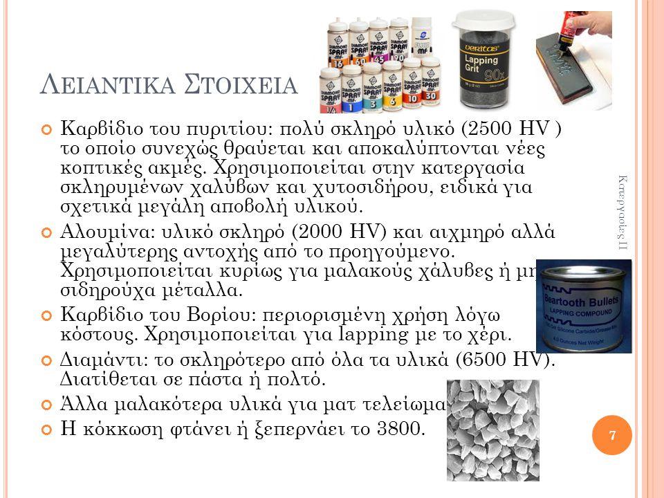 Λ ΕΙΑΝΤΙΚΑ Σ ΤΟΙΧΕΙΑ Καρβίδιο του πυριτίου: πολύ σκληρό υλικό (2500 HV ) το οποίο συνεχώς θραύεται και αποκαλύπτονται νέες κοπτικές ακμές.