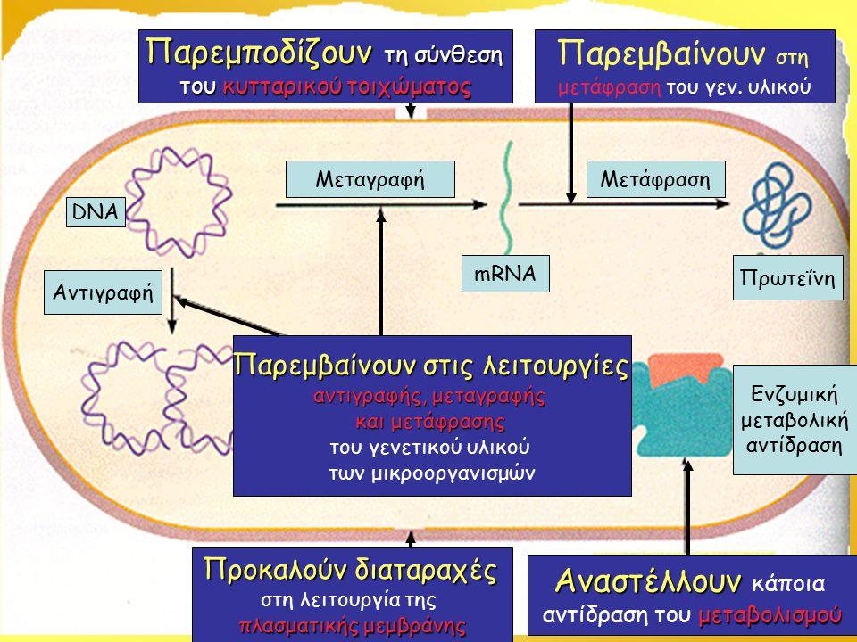 Παρεμποδίζουν τη σύνθεση του κυτταρικού τοιχώματος Προκαλούν διαταραχές στη λειτουργία της πλασματικής μεμβράνης Παρεμβαίνουν στις λειτουργίες αντιγραφής, μεταγραφής και μετάφρασης του γενετικού υλικού των μικροοργανισμών Παρεμβαίνουν στη μετάφραση του γεν.