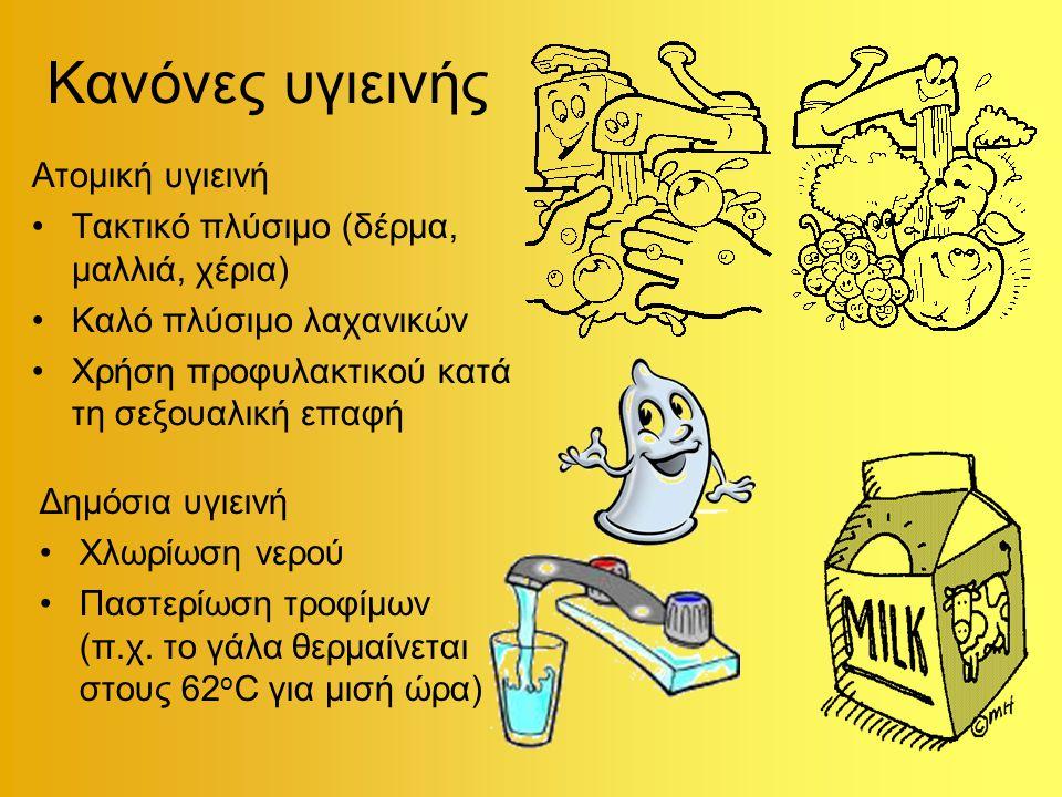 Κανόνες υγιεινής Ατομική υγιεινή Τακτικό πλύσιμο (δέρμα, μαλλιά, χέρια) Καλό πλύσιμο λαχανικών Χρήση προφυλακτικού κατά τη σεξουαλική επαφή Δημόσια υγιεινή Χλωρίωση νερού Παστερίωση τροφίμων (π.χ.