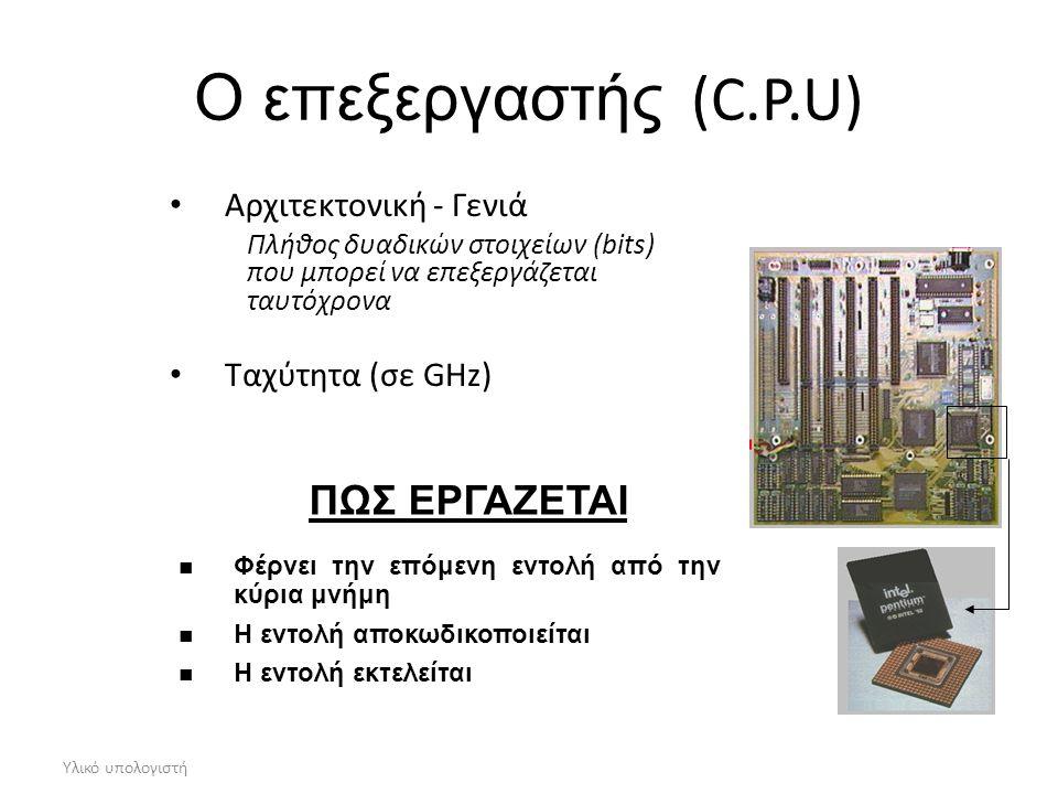 Υλικό υπολογιστή Ο επεξεργαστής (C.P.U) Αρχιτεκτονική - Γενιά Πλήθος δυαδικών στοιχείων (bits) που μπορεί να επεξεργάζεται ταυτόχρονα Ταχύτητα (σε GHz