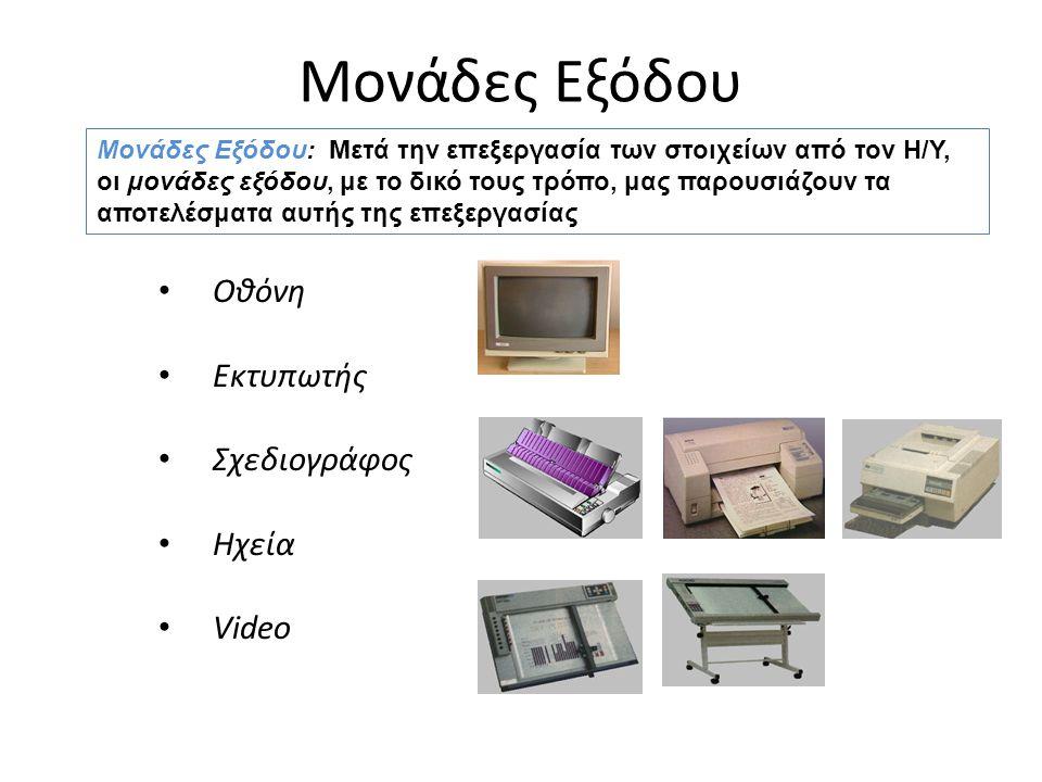 Μονάδες Εξόδου Οθόνη Εκτυπωτής Σχεδιογράφος Ηχεία Video Μονάδες Εξόδου: Μετά την επεξεργασία των στοιχείων από τον Η/Υ, οι μονάδες εξόδου, με το δικό τους τρόπο, μας παρουσιάζουν τα αποτελέσματα αυτής της επεξεργασίας