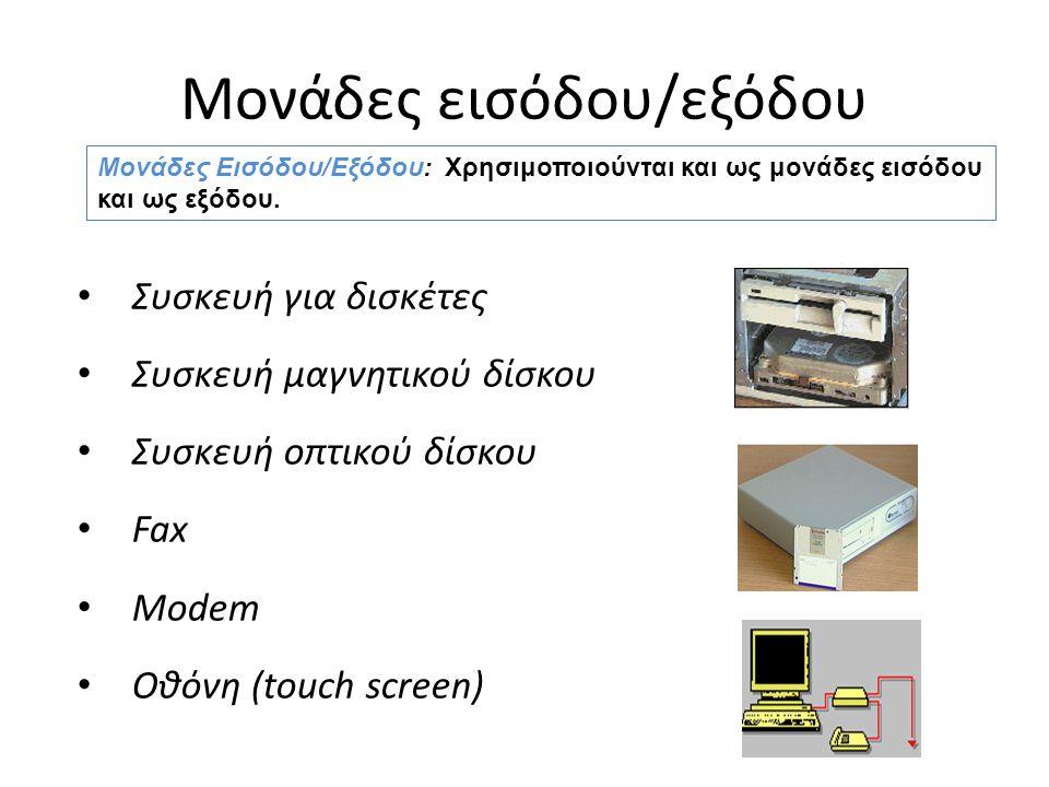 Μονάδες εισόδου/εξόδου Συσκευή για δισκέτες Συσκευή μαγνητικού δίσκου Συσκευή οπτικού δίσκου Fax Modem Οθόνη (touch screen) Μονάδες Εισόδου/Εξόδου: Χρησιμοποιούνται και ως μονάδες εισόδου και ως εξόδου.