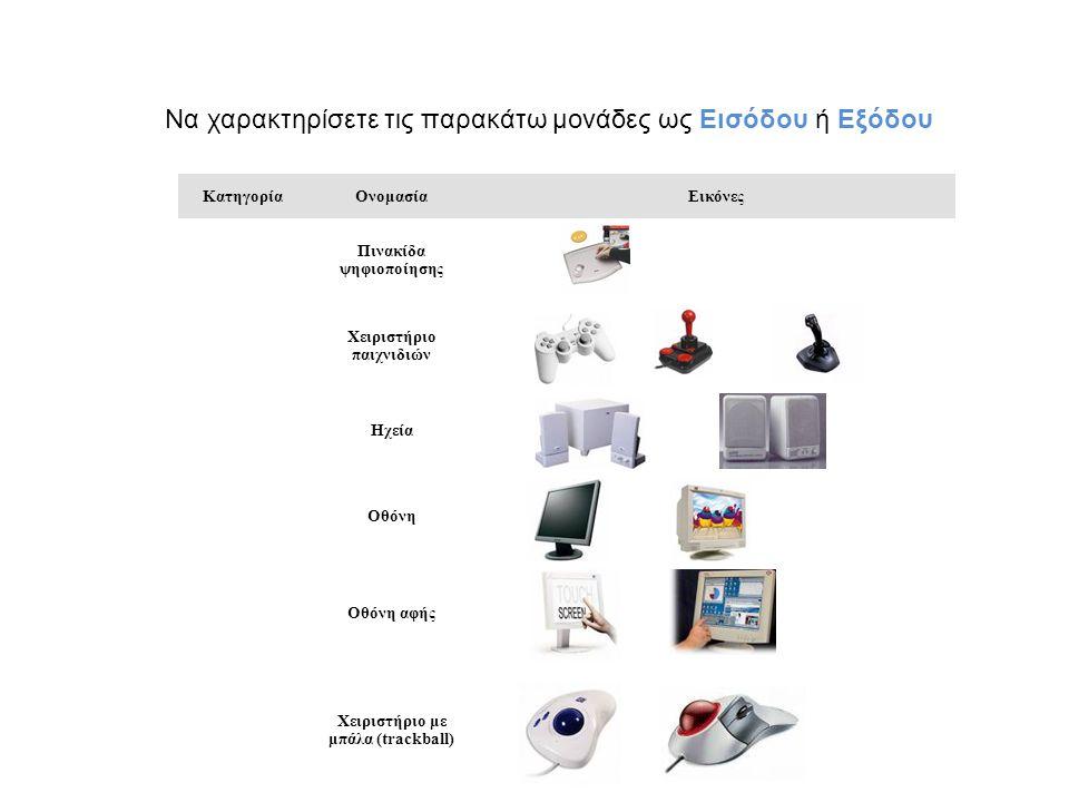 ΚατηγορίαΟνομασίαΕικόνες Πινακίδα ψηφιοποίησης Χειριστήριο παιχνιδιών Ηχεία Οθόνη Οθόνη αφής Χειριστήριο με μπάλα (trackball) Να χαρακτηρίσετε τις παρ