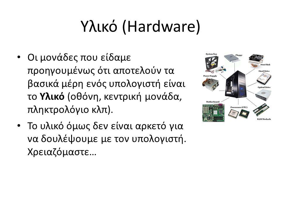 Υλικό (Hardware) Οι μονάδες που είδαμε προηγουμένως ότι αποτελούν τα βασικά μέρη ενός υπολογιστή είναι το Υλικό (οθόνη, κεντρική μονάδα, πληκτρολόγιο