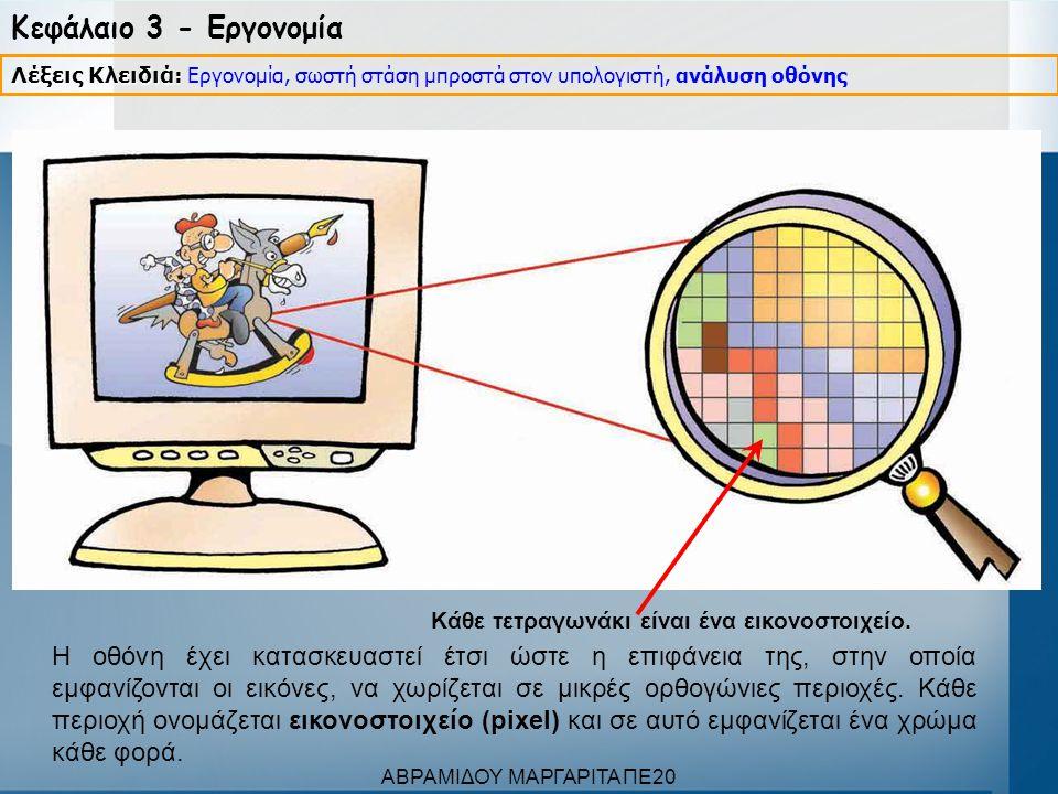 Κεφάλαιο 3 - Εργονομία Ανάλυση: 800x600 Ανάλυση: 1600x1200 Λέξεις Κλειδιά: Λέξεις Κλειδιά: Εργονομία, σωστή στάση μπροστά στον υπολογιστή, ανάλυση οθόνης Ο αριθμός των εικονοστοιχείων που συναντάμε σε μια οριζόντια και σε μια κάθετη γραμμή καθορίζουν την ανάλυση της οθόνης (resolution).