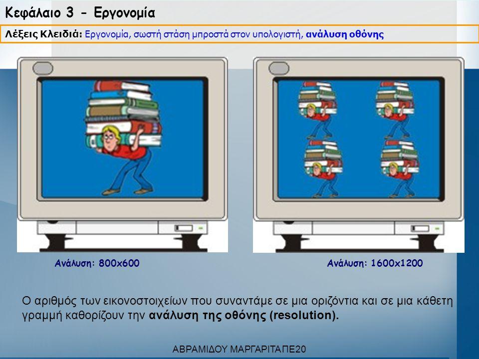 Κεφάλαιο 3 - Εργονομία Ανάλυση: 800x600 Ανάλυση: 1600x1200 Λέξεις Κλειδιά: Λέξεις Κλειδιά: Εργονομία, σωστή στάση μπροστά στον υπολογιστή, ανάλυση οθό