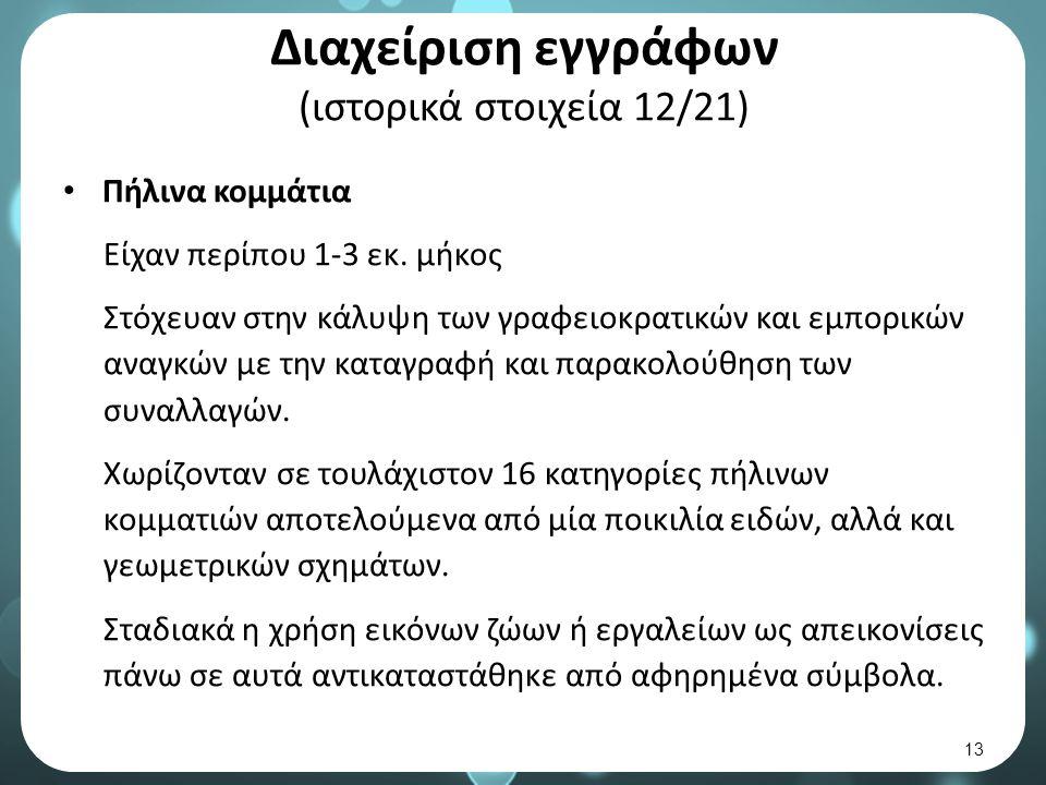 Διαχείριση εγγράφων (ιστορικά στοιχεία 12/21) Πήλινα κομμάτια Είχαν περίπου 1-3 εκ.
