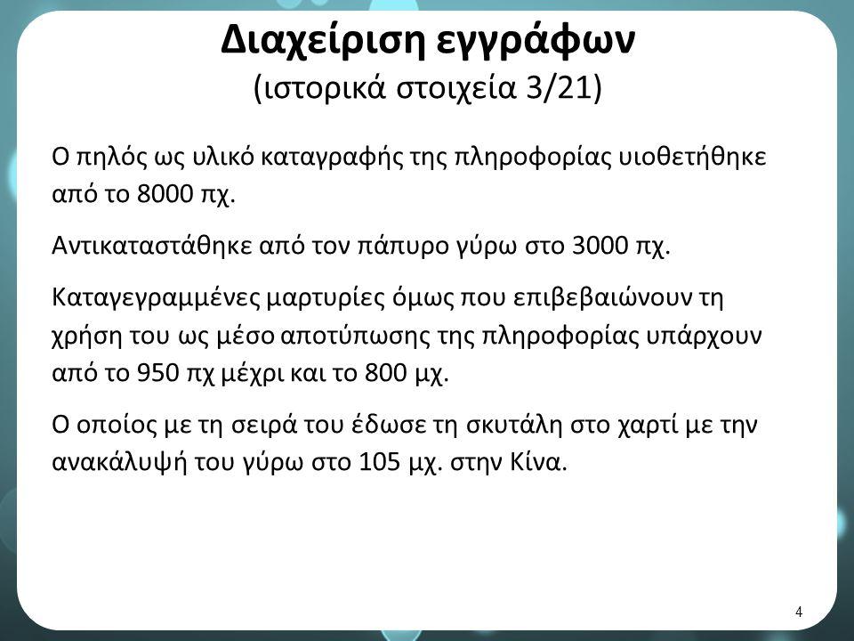 Διαχείριση εγγράφων (ιστορικά στοιχεία 3/21) Ο πηλός ως υλικό καταγραφής της πληροφορίας υιοθετήθηκε από το 8000 πχ.