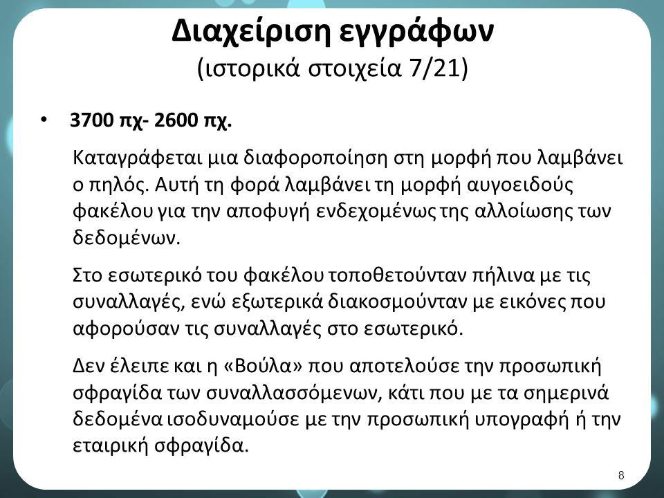 Διαχείριση εγγράφων (ιστορικά στοιχεία 7/21) 3700 πχ- 2600 πχ.