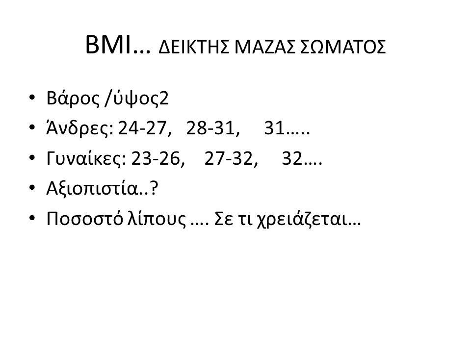 ΒΜΙ… ΔΕΙΚΤΗΣ ΜΑΖΑΣ ΣΩΜΑΤΟΣ Βάρος /ύψος2 Άνδρες: 24-27, 28-31, 31….. Γυναίκες: 23-26, 27-32, 32…. Αξιοπιστία..? Ποσοστό λίπους …. Σε τι χρειάζεται…