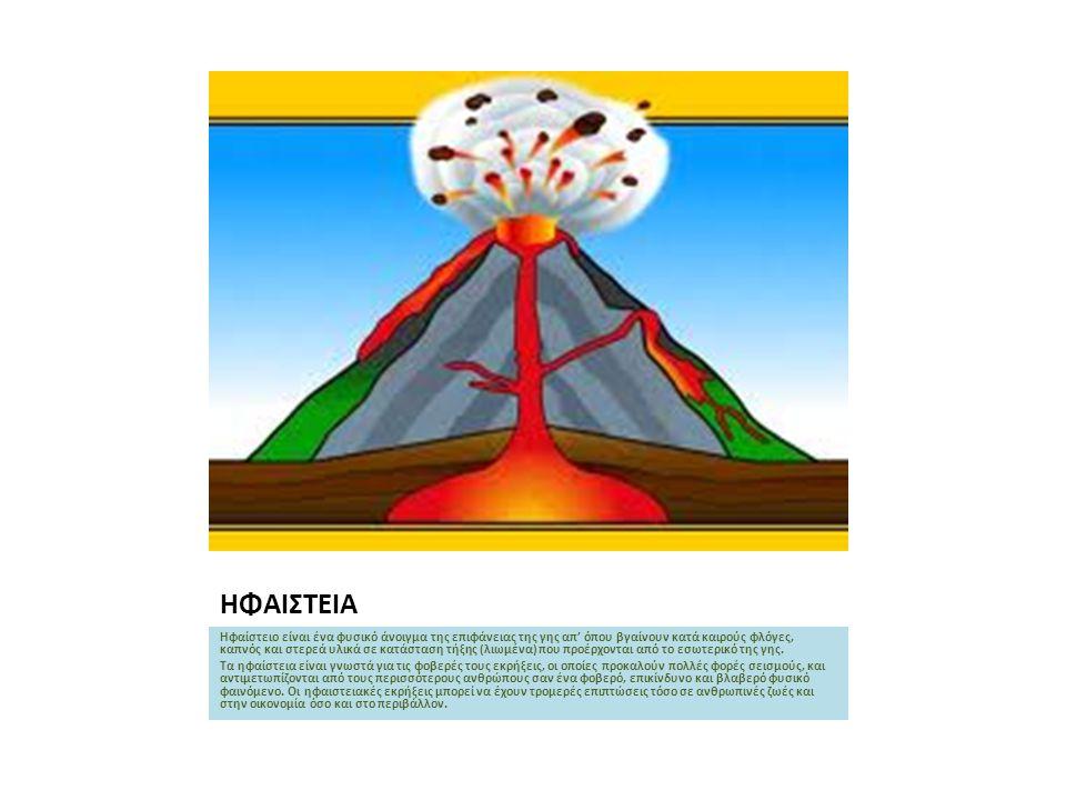 ΗΦΑΙΣΤΕΙΑ Ηφαίστειο είναι ένα φυσικό άνοιγμα της επιφάνειας της γης απ' όπου βγαίνουν κατά καιρούς φλόγες, καπνός και στερεά υλικά σε κατάσταση τήξης