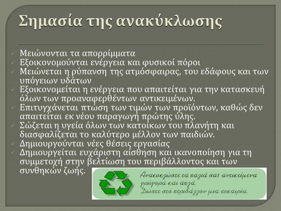 Μειώνονται τα απορρίμματα Εξοικονομούνται ενέργεια και φυσικοί πόροι Μειώνεται η ρύπανση της ατμόσφαιρας, του εδάφους και των υπόγειων υδάτων Εξοικονο