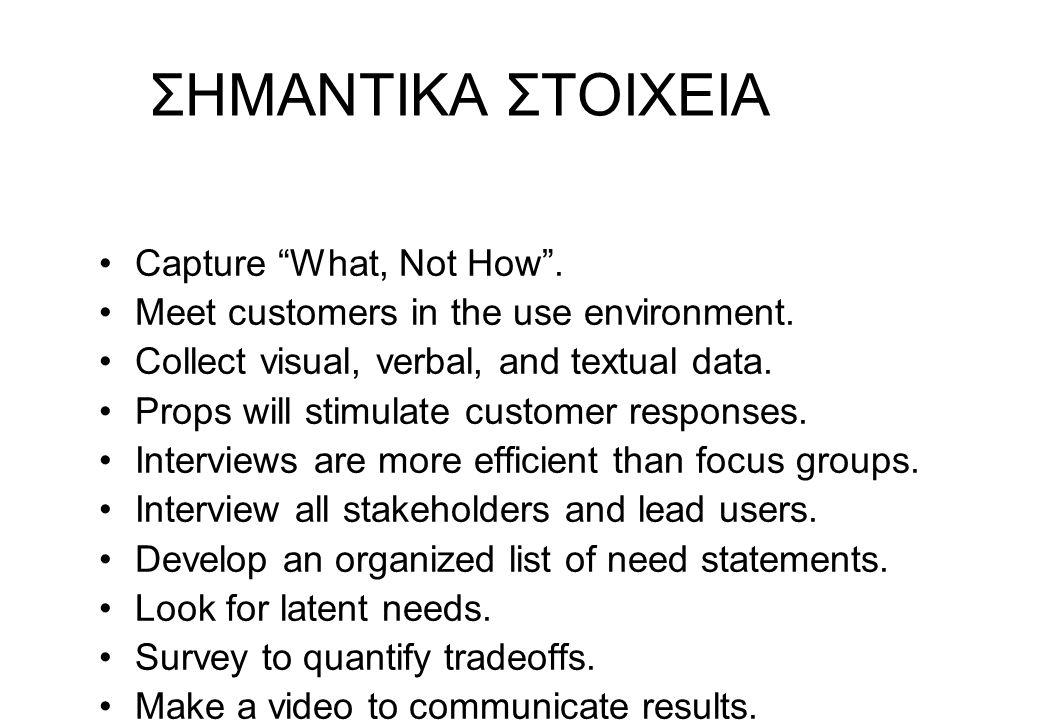 """ΣΗΜΑΝΤΙΚΑ ΣΤΟΙΧΕΙΑ Capture """"What, Not How"""". Meet customers in the use environment. Collect visual, verbal, and textual data. Props will stimulate cust"""