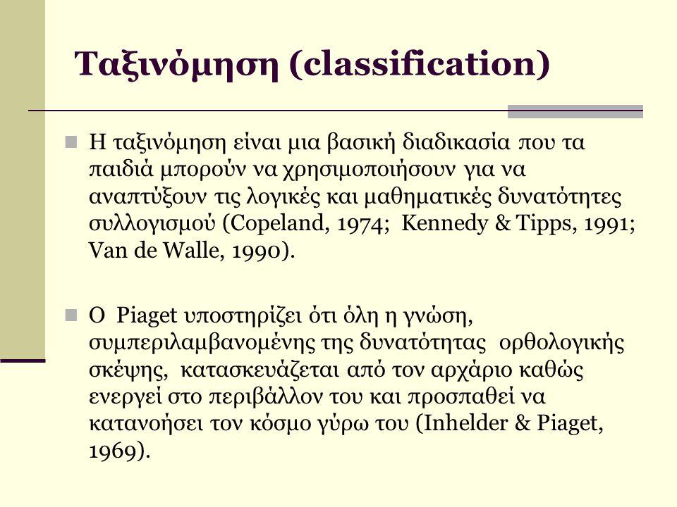Ταξινόμηση (classification) Η ταξινόμηση είναι μια βασική διαδικασία που τα παιδιά μπορούν να χρησιμοποιήσουν για να αναπτύξουν τις λογικές και μαθημα